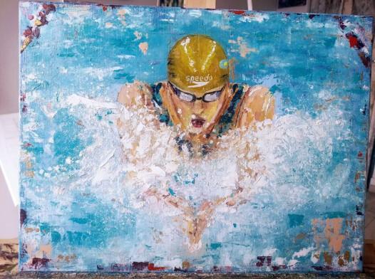 Obraz olejny 30x40 cm pływaczka
