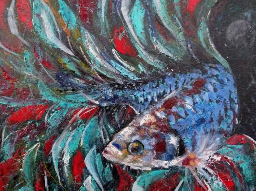 Obraz olejny 50x40 cm rybka bojownik