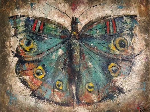 Obraz olejny 40 x 50 cm Niebieski motyl