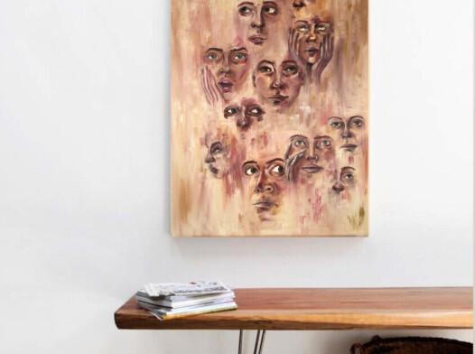 Abstrakcyjny obraz olejny - twarze 60x80 cm
