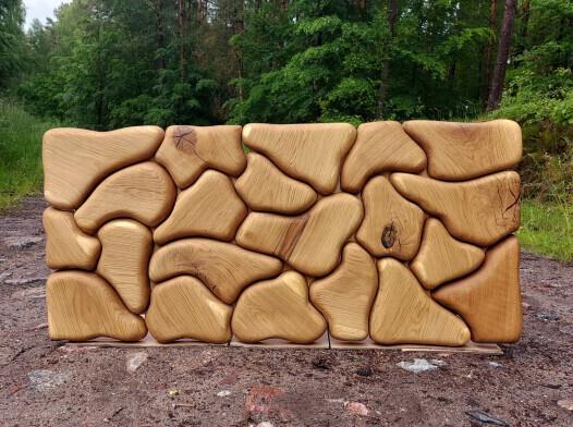 Rzeźba ścienna obraz z drewna dąb lity