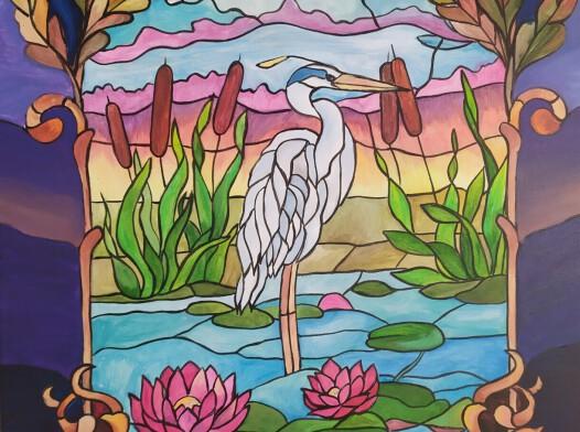 obraz witraż żuraw